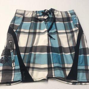 O'NEILL SUPERFREAK Mens 31 Board Shorts Blue Gray